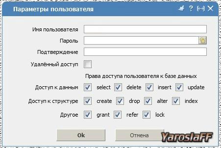 Создание пользователя для базы данных